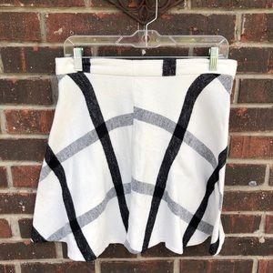 White & Black Plaid Mini Skirt